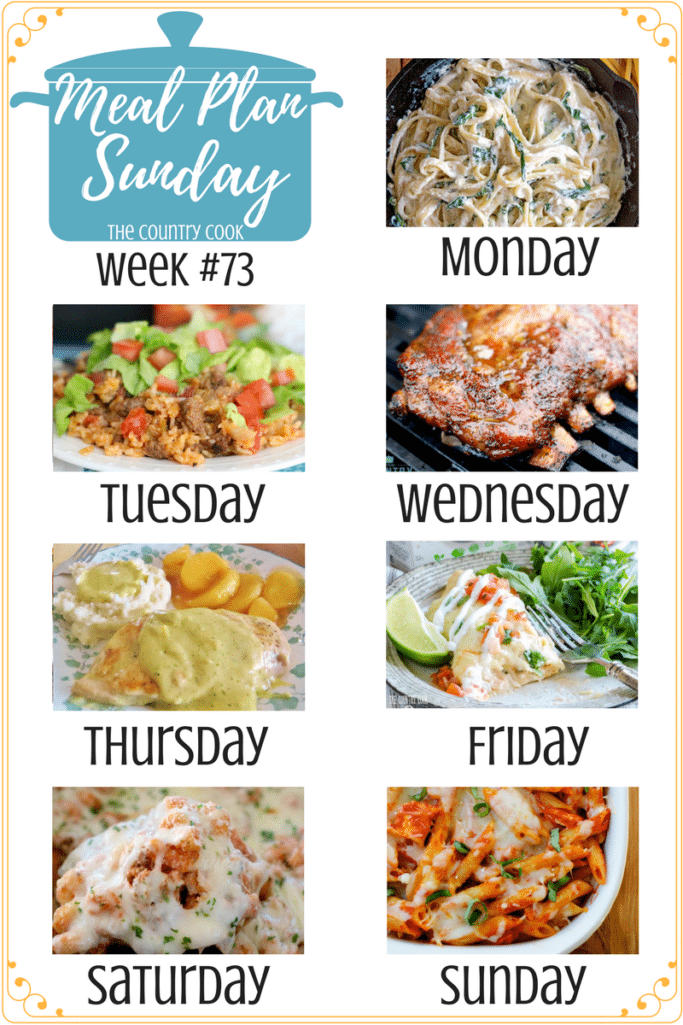 Featured recipes at Meal Plan Sunday include: Fettuccine with Ricotta & Spinach, One-Pan Taco Rice Dinner, Orange Honey Ribs, Creamy Ranch Chicken, Creamy Shrimp Enchiladas, Crockpot Million Dollar Pasta, Chicken Parmesan Casserole, Grilled Red Potatoes & Green Beans, Mom's Macaroni Salad #mealplan #easy #recipes #ideas #dinner #pork #ribs #groundbeef #chicken #meatless