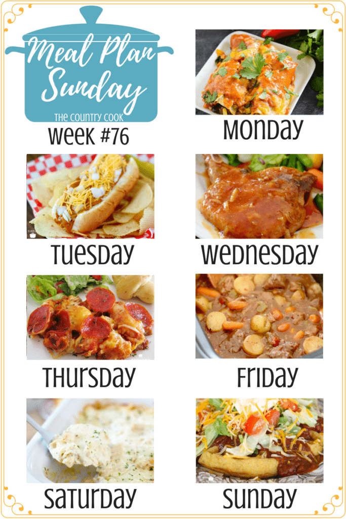 Meal Plan Recipes: Vegetable Enchiladas, Crock Pot Chili Cheese Dogs, BBQ Pork Chops, Bubble Up Pizza, Beef Stew, Chicken Alfredo Lasagna, Cornbread Waffles & Chili #mealplan #recipes #dinner #ideas #easy #chicken #porkchops #groundbeef #weeknight #meals #crockpot #slowcooker
