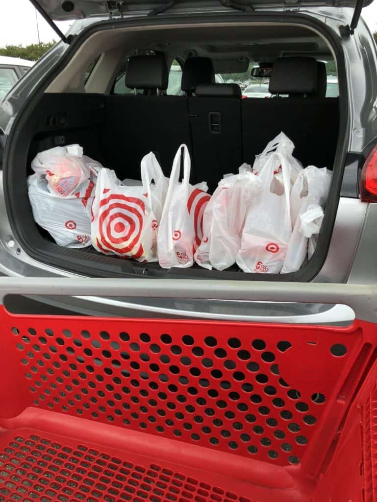 Target shopping bags in the car trunk
