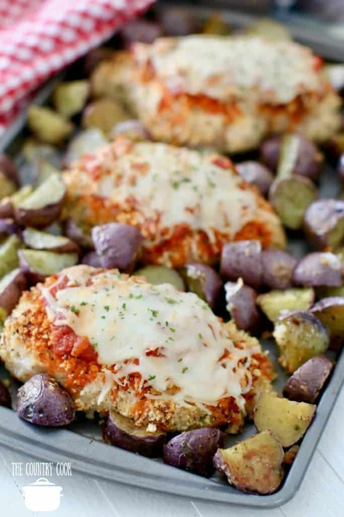 Sheet Pan Baked Chicken Parmesan and Roasted Little Potatoes
