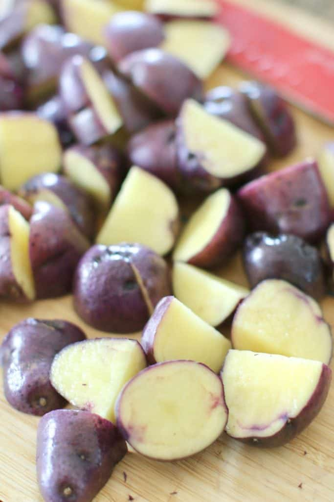 diced blue potatoes