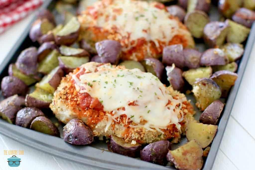 Sheet Pan Baked Chicken Parmesan and Italian Roasted Potatoes