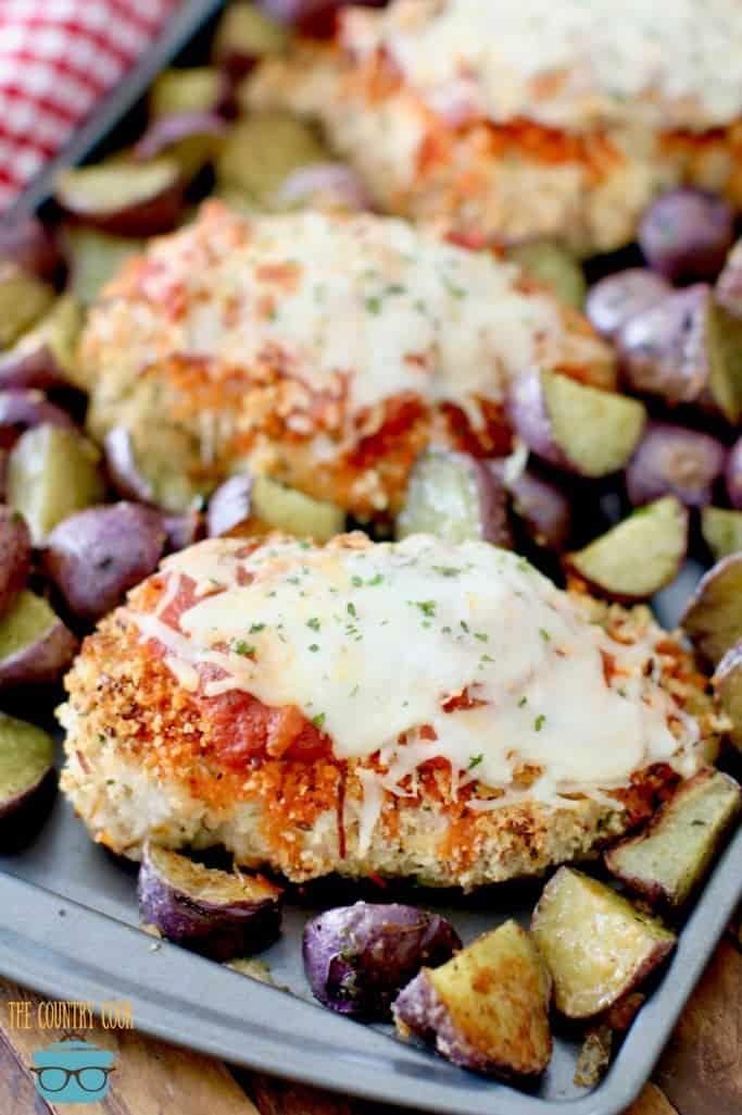Sheet Pan Chicken Parmesan and Roasted Italian Potatoes