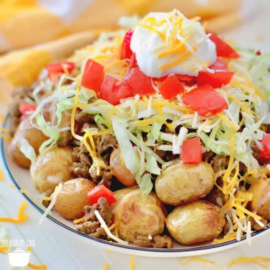 Taco Salad Topped Potatoes on a plate