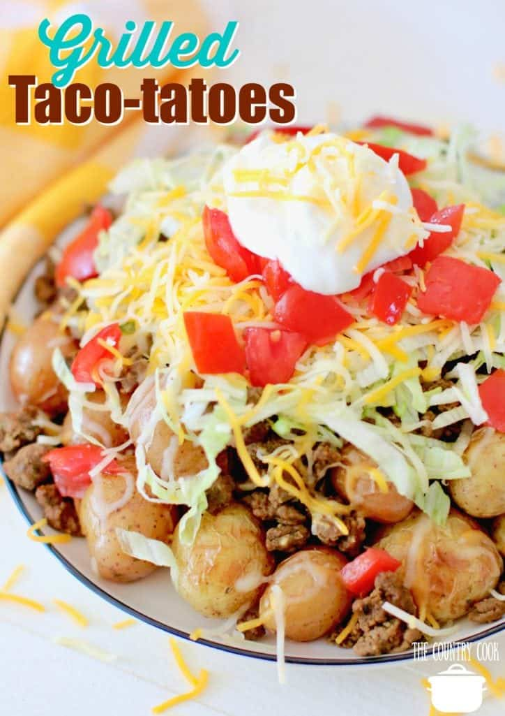 Grilled Taco Potatoes recipe from The Country Cook - perfect for camping!