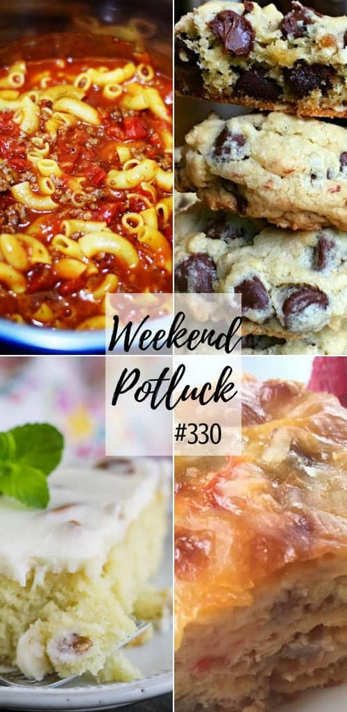Weekend Potluck recipes: Southwestern Breakfast Casserole, Instant Pot Goulash, Blonde Texas Sheet Cake with Pecans, Best Chocolate Chip Oatmeal Cookies #recipes #mealplan #dinner #desserts #cake #goulash #cake #cookies #ideas