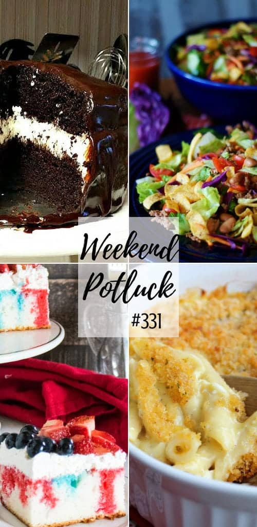 Weekend Potluck featured recipes include: Ding Dong Cake, Scalloped Chicken Casserole, Patriotic Poke Cake, Catalina Taco Salad, Pineapple Rum Punch #recipes #dinner #dessert #ideas #mealplan #salad #chocolate #punch #drinks