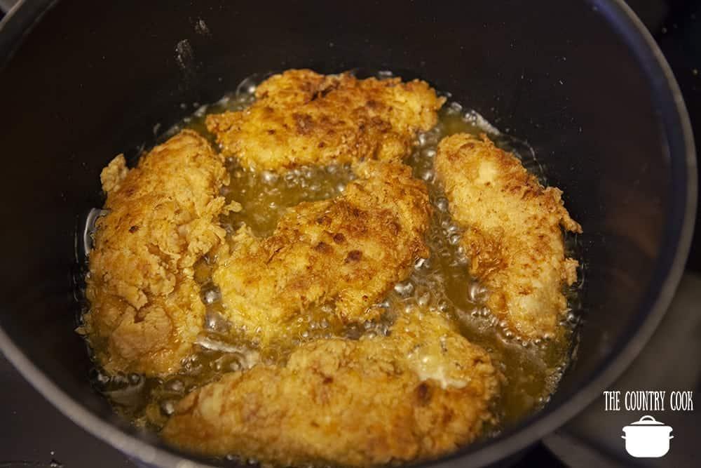 frying chicken tenders in peanut oil