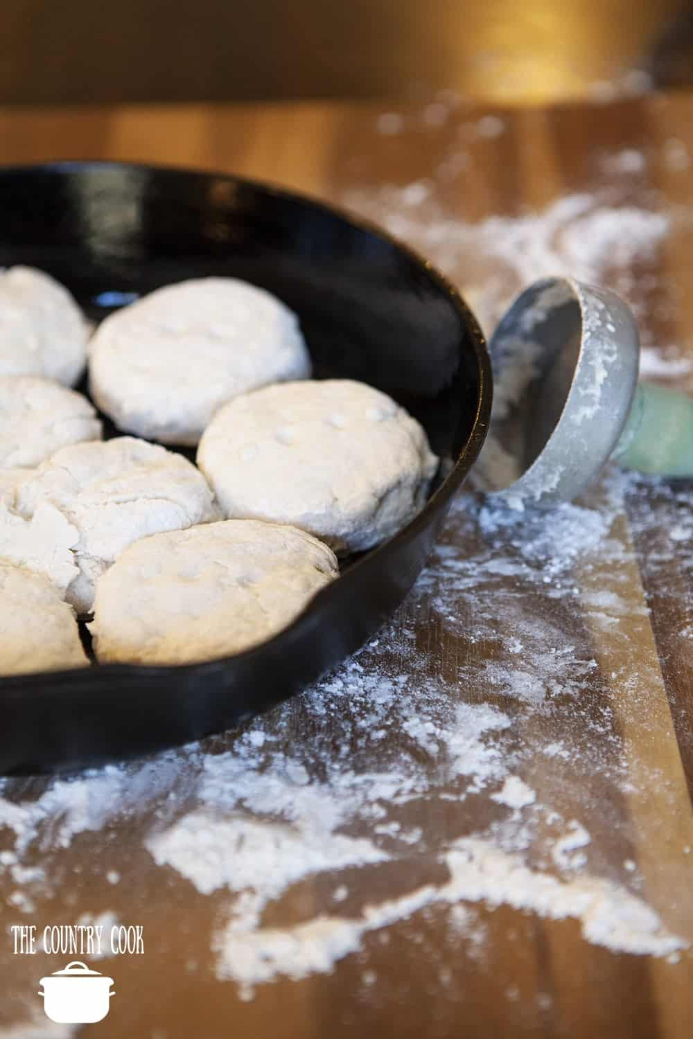 homemade biscuits in a cast iron pan