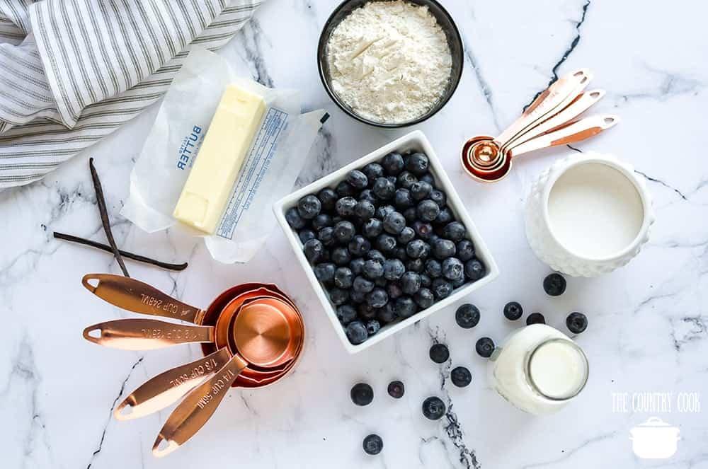 fresh blueberries, self rising flour, butter, milk, sugar, vanilla extract
