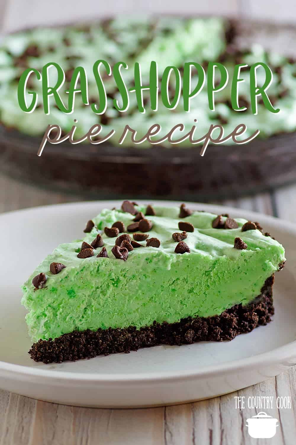 No Bake Grasshopper Pie recipe from The Country Cook