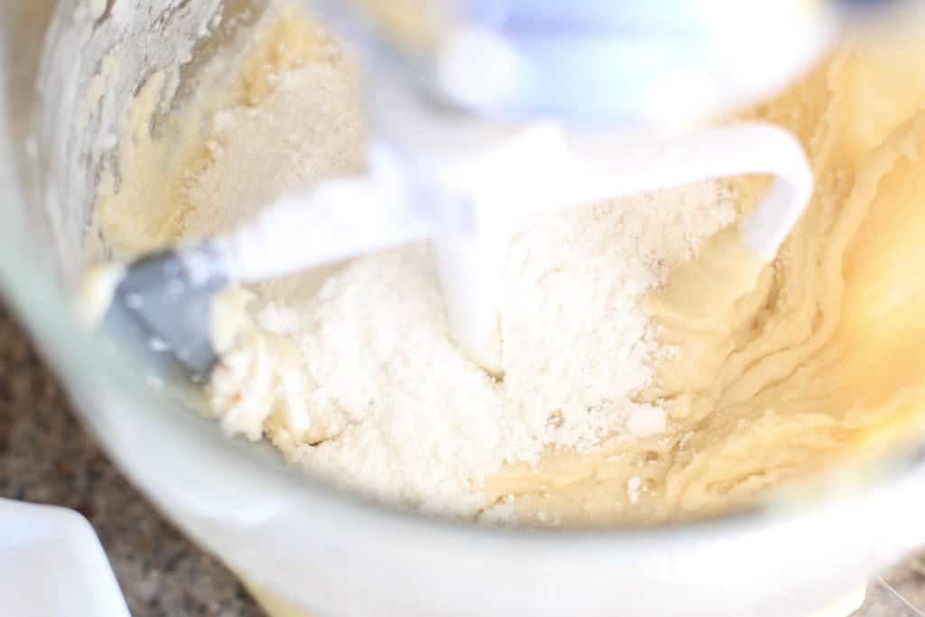 flour mixture, butter mixture stirred together in a stand mixture