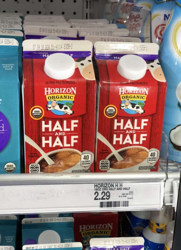 Horizon Organic Half and Half creamers on the shelf