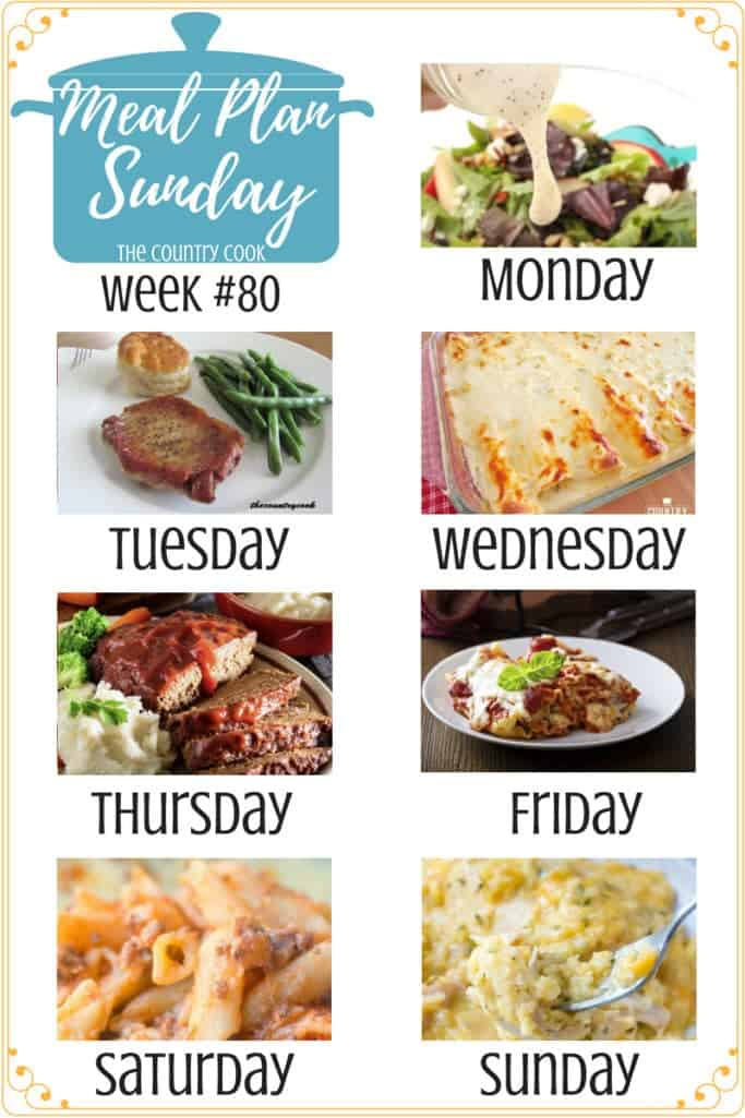 Meal Plan recipes include: The Best Homemade Poppy Seed Dressing, Pan Fried Pork Chops, Creamy Chicken Enchiladas with White Sauce, Momma's Best Meatloaf, Crock Pot Lasagna, Easy Baked Ziti, Crock Pot Cheesy Chicken and Rice #dinner #mealplan #recipes #easy #ideas #backtoschool #kidfriendly #comfortfood #simple