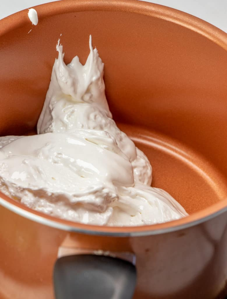 marshmallow fluff in a sauce pan