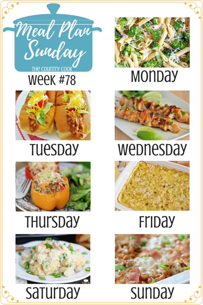 Meal Plan Sunday recipes include: Broccoli Garlic Pasta, Taco Joes, Grilled Lime Chicken Skewers, Crock Pot Stuffed Peppers, Crock Pot Chicken and Dumplings, Crock Pot Chicken Pot Pie #recipes #mealplan #dinner #recipes #groundbeef #chicken #slowcooker #crockpot #meatless #beans #casseroles #easy