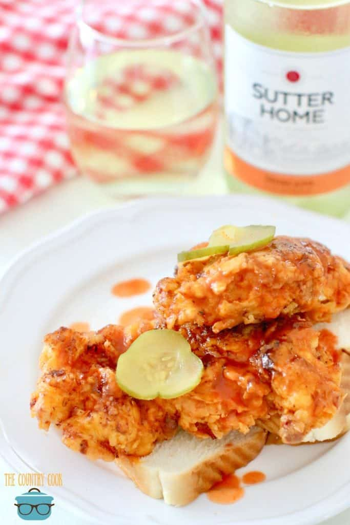 Easy Nashville Hot Chicken recipe with Moscato wine
