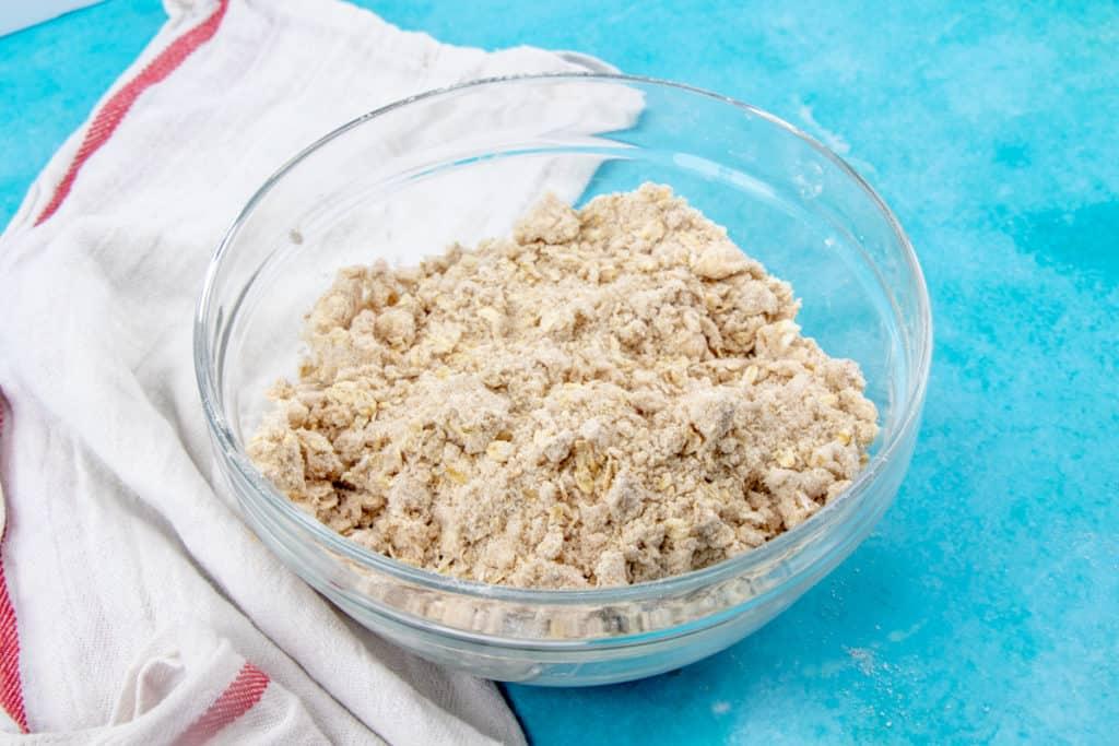 oatmeal sugar flour cobbler topping mixture in a bowl