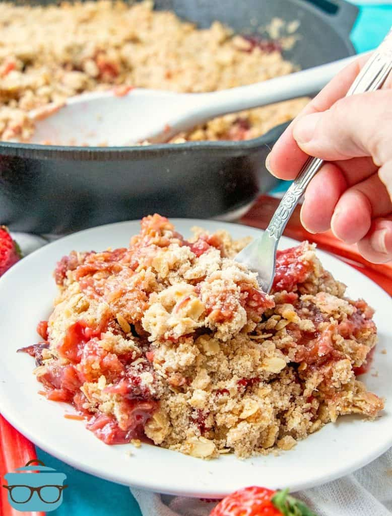 Strawberry Rhubarb Cobbler serving on a plate