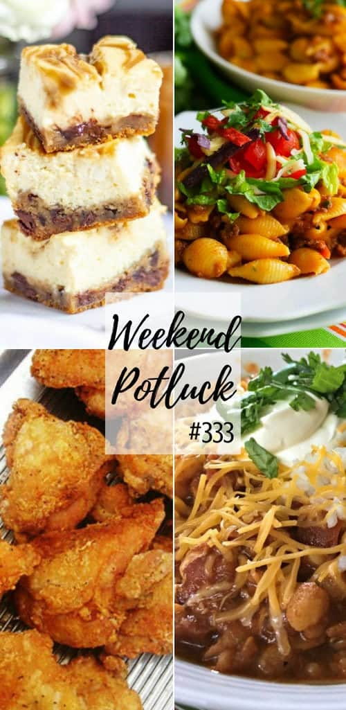 Weekend Potluck featured recipes include: The Best Southern Fried Chicken, Caramel Cheesecake Bars, Instant Pot Cheesy Taco Pasta, Crock Pot Chicken Chili, Pickle Fried Chicken Tenders #mealplan #recipes #dinner #ideas #dinnerrecipes #friedchicken #instantpot #crockpot #slowcooker #chicken #pasta #groundbeef #chili