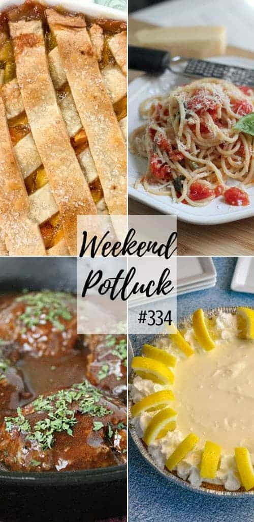 Weekend Potluck featured recipes include: Fresh Peach Cobbler, Simple Salisbury Steak, No Bake Lemonade Pie, Pasta with Fresh Tomatoes #dinner #dessert #peach #pasta #mealplan #recipes #ideas #pie #groundbeef #lemon #easy #simple