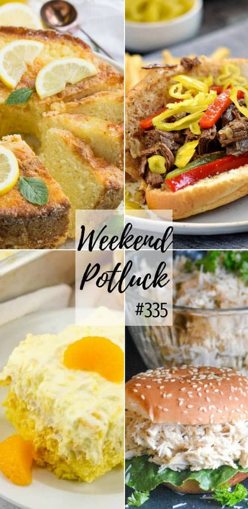 Featured recipes at Weekend Potluck include: Famous Ritz Carlton Lemon Pound Cake, Instant Pot Italian Beef, Crock Pot Chicken Caesar Sandwiches and Pig Pickin' Cake #dinner #recipes #idea #crockpot #instantpot #beef #chicken #dessert #desserts #mealplan