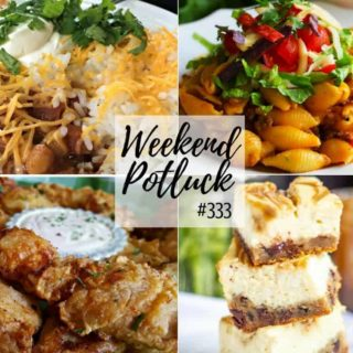 Weekend Potluck #333 featured recipes: Caramel Cheesecake Bars, The Best Southern Fried Chicken, Instant Pot Cheesy Taco Pasta, Crock Pot Chicken Chili, Pickle Fried Chicken Tenders