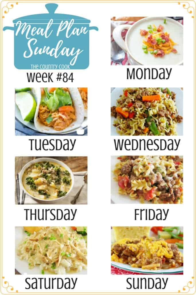 Meal Plan recipes include: Crockpot Potato Soup, Slow Cooker Salsa Chicken, Hamburger Ramen Noodle Skillet Supper, Copycat Olive Garden Zuppa Toscana, Easy Skillet Lasagna, Crock Pot Chicken and Gravy, Crock Pot Sloppy Joe Casserole #mealplan #recipes #ideas #dinner #slowcooker #crockpot #groundbeef #soup #chicken #soups #hashbrowns #sloppyjoe #lasagna #easy