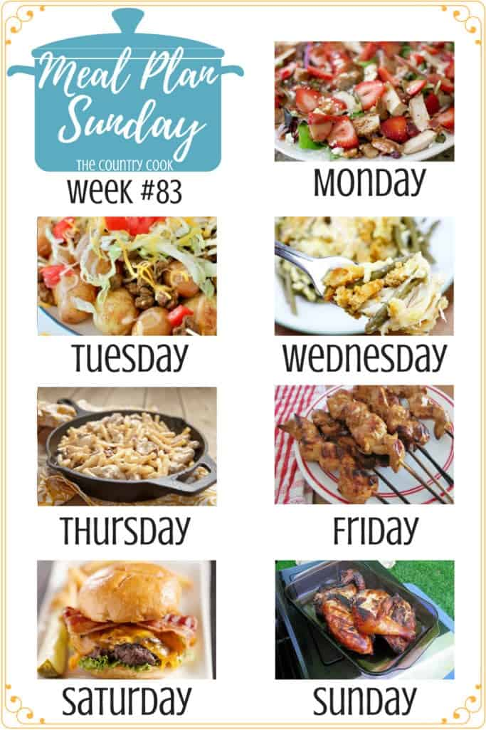 Meal Plan recipes include: Strawberry Fields Salad, Grilled Taco Potatoes, Slow Cooker Chicken and Stuffing Dinner, Crock Pot Creamy Italian Chicken and Pasta, The Best Grilled Chicken Marinade, Homemade Steakburger, Huli Huli Chicken #mealplan #recipes #dinner #ideas #backtoschool #weeknight #easy #chicken #salad #crockpot #slowcooker #groundbeef