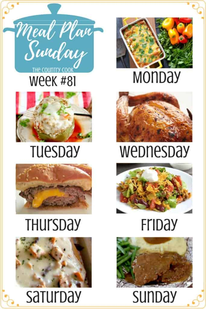 Meal Plan Sunday recipes include: Stuffed Peppers, Whole Roasted Chicken, Dorito Taco Salad, Vegetable Enchiladas, Cubed Steak & Gravy, Grilled Chicken Alfredo Pizza, Juicy Lucy Hamburger #mealplan #recipes #dinner #ideas #slowcooker #crockpot #cubedsteak #groundbeef #chicken #backtoschool