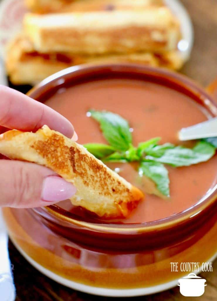 Grilled Cheese Rollups served with tomato basil soup