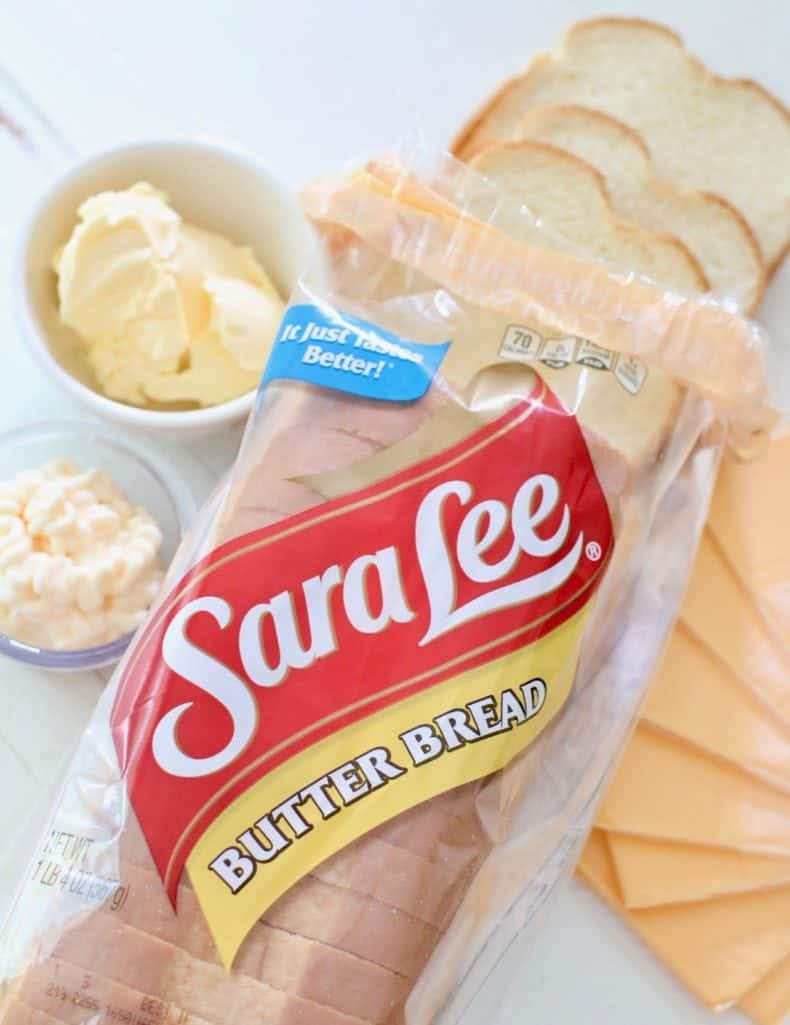 Sara Lee Butter Bread, American cheese slices, butter and mayonnaise