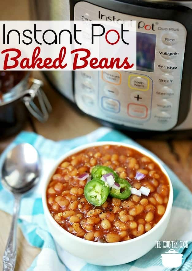 Homemade Instant Pot Baked Beans recipe from The Country Cook #instantpot #pressurecooker #beans #bakedbeans #drybeans #navybeans #pintobeans #sidedish #TheCountryCook