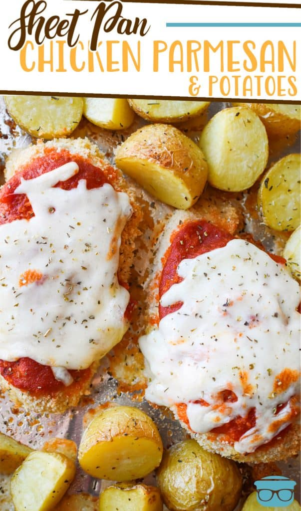 Sheet Pan Chicken Parmesan and Potatoes recipe from The Country Cook, pictured is cooked breaded chicken topped with marinara sauce and melted cheese