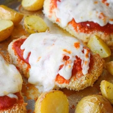Sheet Pan Chicken Parmesan and Roasted Italian Potatoes