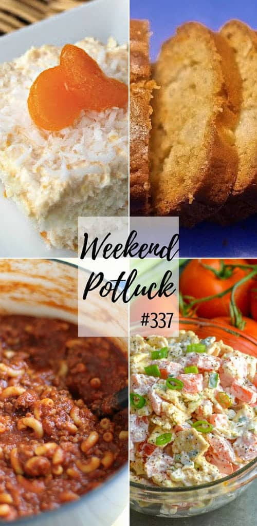 Weekend Potluck featured recipes include: Tropical Orange Cake, Easy One Pot Chili Mac, Tomato Cracker Salad, Pineapple Quick Bread #recipes #mealplan #dinner #dessert #ideas #easy #mealplanning #supper #groundbeef #bread #tomatoes #cake #orange