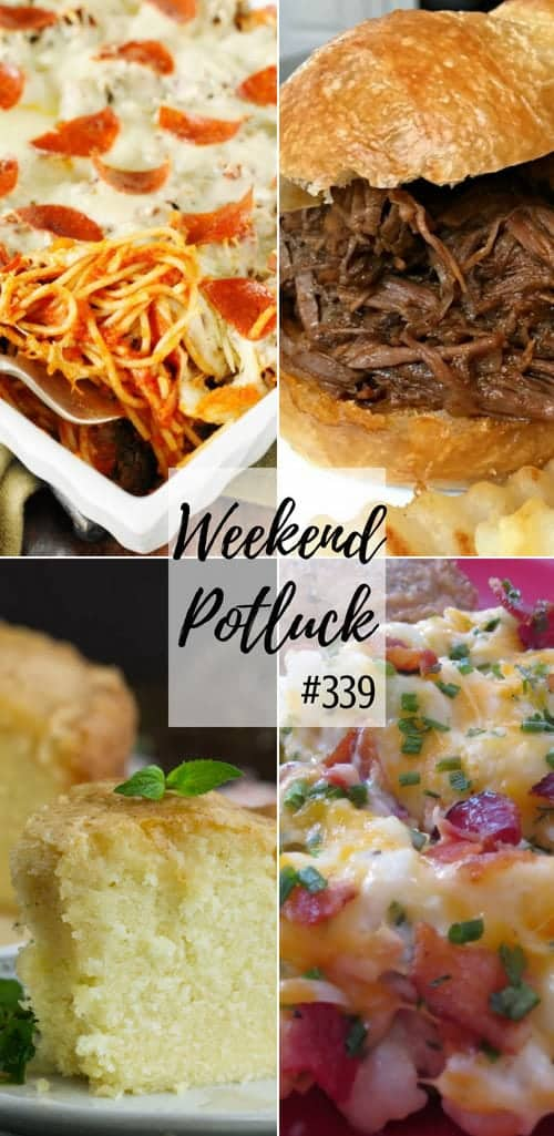 Weekend Potluck featured recipes include: Scratch-Made Rum Pound Cake with Rum Glaze, Loaded Cauliflower Casserole, Pizza Spaghetti Bake, Best Ever Slow Cooker BBQ Beef Sandwiches #mealplan #potluck #food #recipes #ideas #backtoschool #pizza #spaghetti #cake #poundcake #cauliflower #lowcarb #easy #dinner