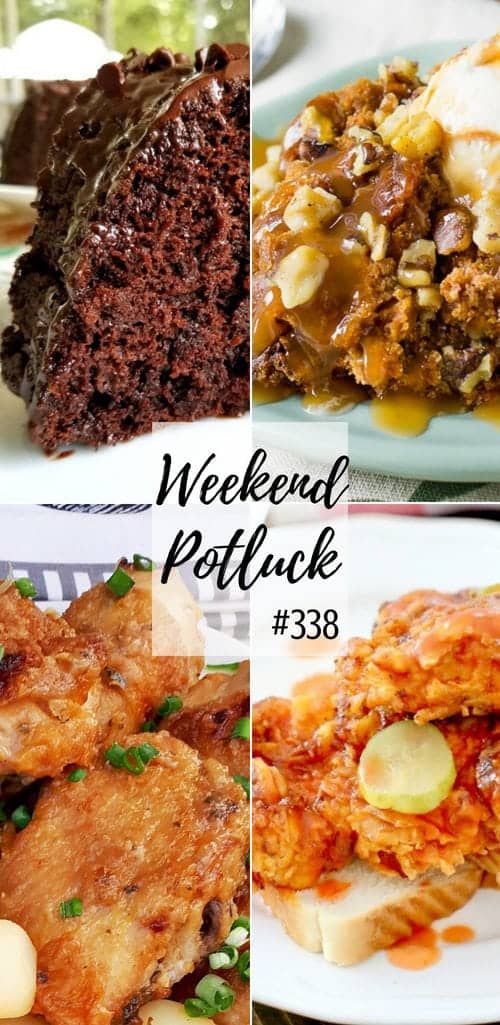 Weekend Potluck featured recipes include: Impossible Chocolate Cake, Crock Pot 3-Ingredient Pumpkin Cake, Easy Sticky Chicken and Nashville Hot Chicken #recipes #mealplan #chicken #cake #dessert #crockpot #slowcooker #easy #ideas