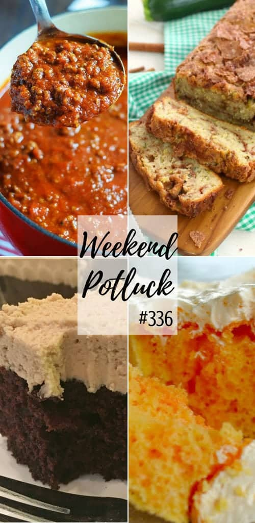 Featured recipes at Weekend Potluck include: Orange Cream Cake, Kicked Up Spaghetti Sauce Out of a Jar, Cinnamon Swirl Zucchini Bread, Chocolate Crazy Cake with Peanut Butter Frosting, #recipes #ideas #mealplan #dinner #dessert #weeknight #backtoschool #spaghettisauce #pokecake #zucchini #chocolate #cake #cakes #weekendpotluck