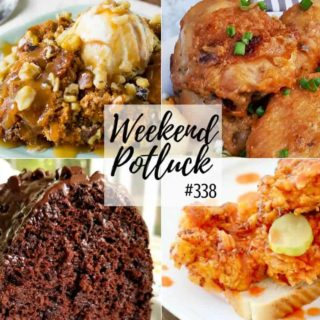 Weekend Potluck #338 recipes include: Impossible Chocolate Cake, Crock Pot 3-Ingredient Pumpkin Cake, Easy Sticky Chicken and Nashville Hot Chicken