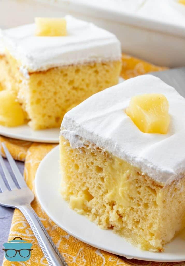 slices, Pineapple Pudding Poke Cake