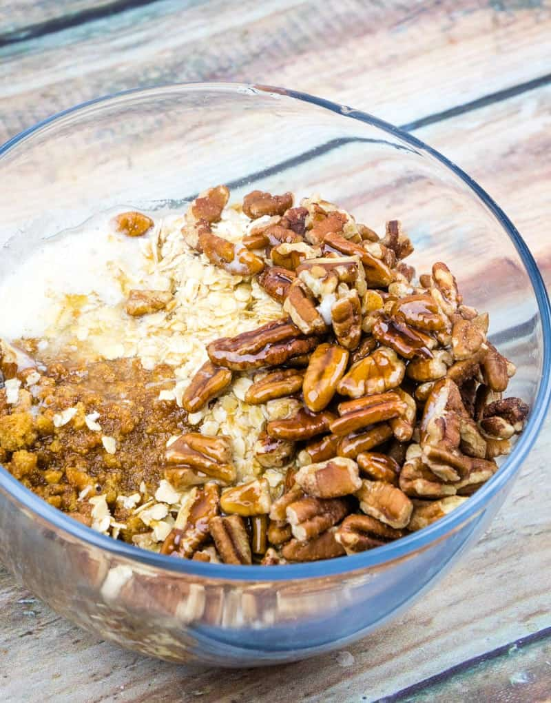 chopped pecans, crushed ginger snaps, oatmeal and melted butter mixed together in a bowl