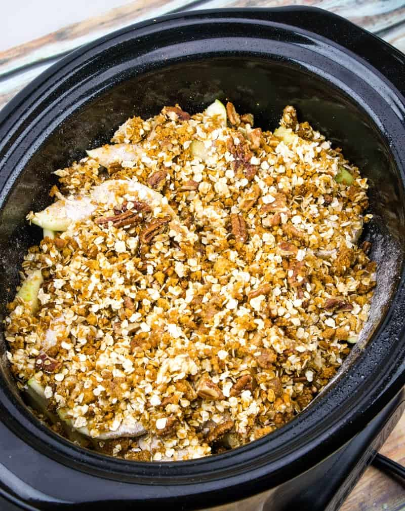 apple crisp mixture in a 6 quart crock pot