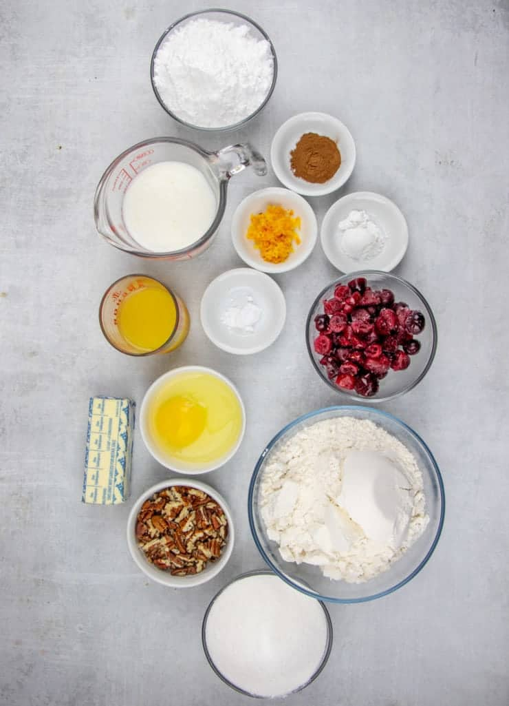all purpose flour, butter, cranberries, pecans, orange zest, orange juice, baking soda, buttermilk, cinnamon