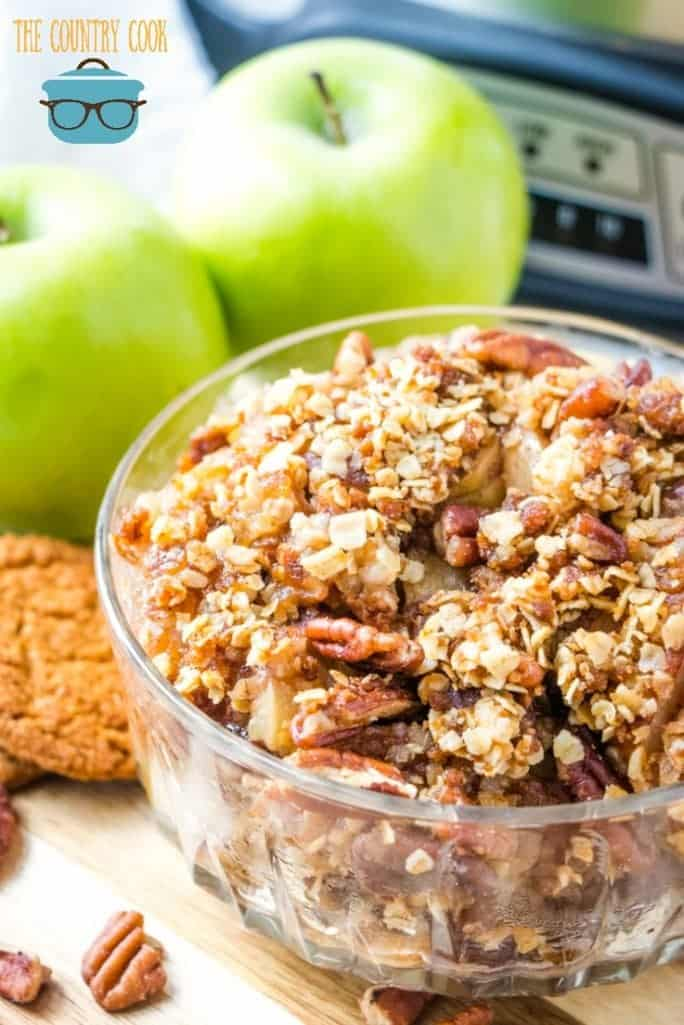 Crock Pot Apple Crisp with Gingersnap Topping recipe from The Country Cook