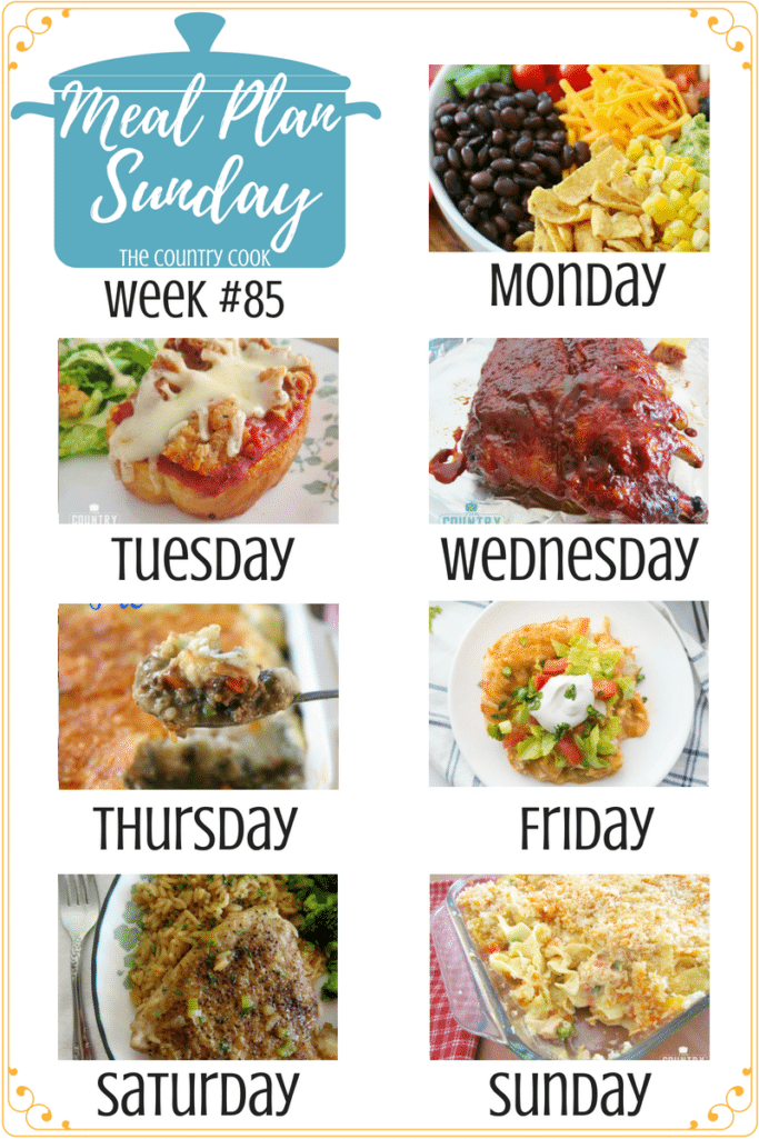 Meal plan recipes include: Frito Taco Salad, Garlic Bread Chicken Parmesan, Shepherd's Pie, Chicken Enchilada Bake, Country Pork Chops and Rice, Chicken Noodle Casserole, Crock Pot BBQ Ribs #mealplan #recipes #dinner #ideas #easy #quick #simple #porkchops #groundbeef #chicken #casseroles