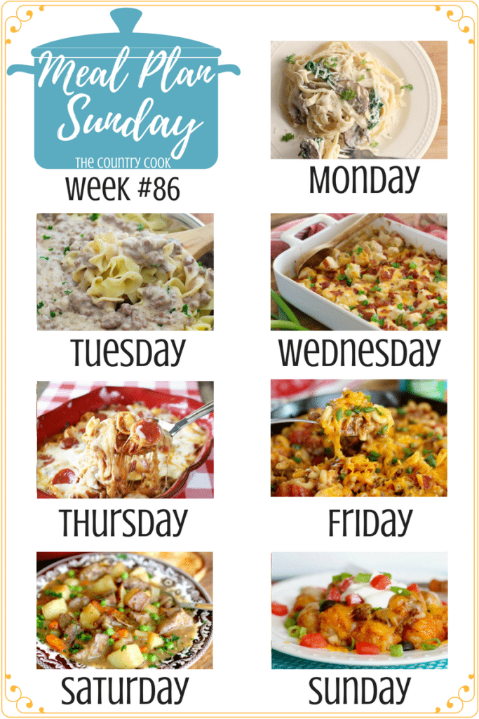 Meal Plan Sunday recipes include: Fettuccine with Mushroom Parmesan Cheese Sauce, Homemade Beef Stroganoff, Loaded Potato and Ranch Chicken Casserole, Baked Pizza Tortellini, Cheesy Macaroni Skillet, TheBest Beef Stew, Tater Tot Enchilada Bake #mealplan #dinner #ideas #recipes #beef #groundbeef #chicken #pasta #casserole #easy #simple #quick