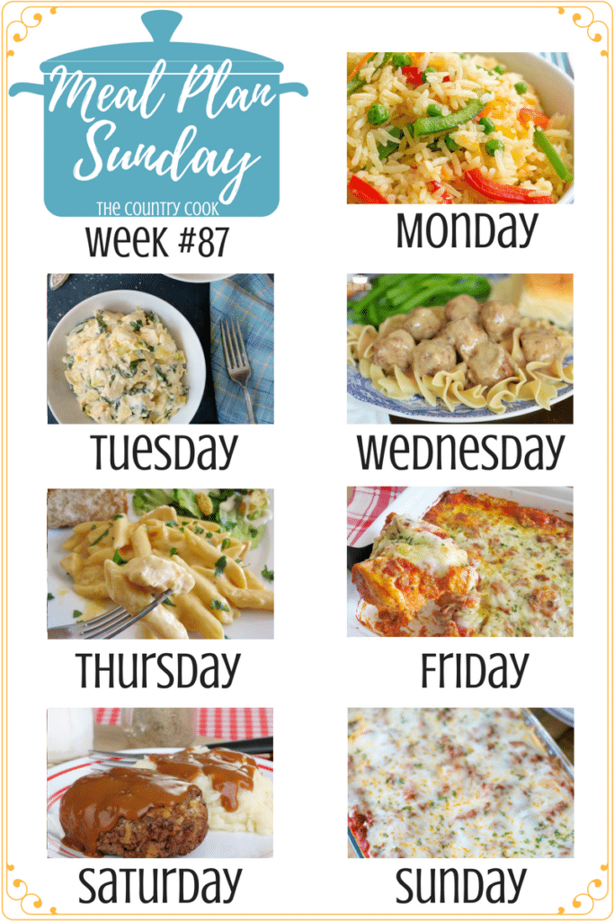 Meal Plan Sunday recipes include: Confetti Rice, Instant Pot Spinach Artichoke Chicken, Swedish Meatballs and Noodles, Crock Pot Buffalo Chicken Pasta, Bubble Up Lasagna, Hamburger Steaks and Gravy, Easy Baked Spaghetti (Spasagna) #mealplan #recipes #dinner #ideas #easy #crockpot #alowcooker #instantpot #groundbeef #meatlessmonday #chicken #simple #easymeals