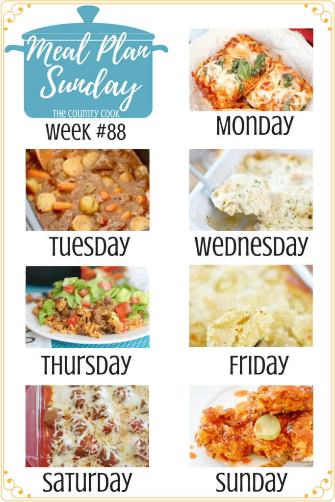 Meal Plan recipes include: Easy Lasagna Rolls, Crock Pot Chunky Beef & Potato Stew, Crock Pot Chicken Alfredo Lasagna, One-Pan Taco Rice Dinner, Cornbread Chicken Casserole, Meatball Sub Casserole, Nashville Hot Chicken #recipes #dinner #mealplan #easy #ideas #beef #groundbeef #chicken #chickenbreast #meatballs #kidfriendly