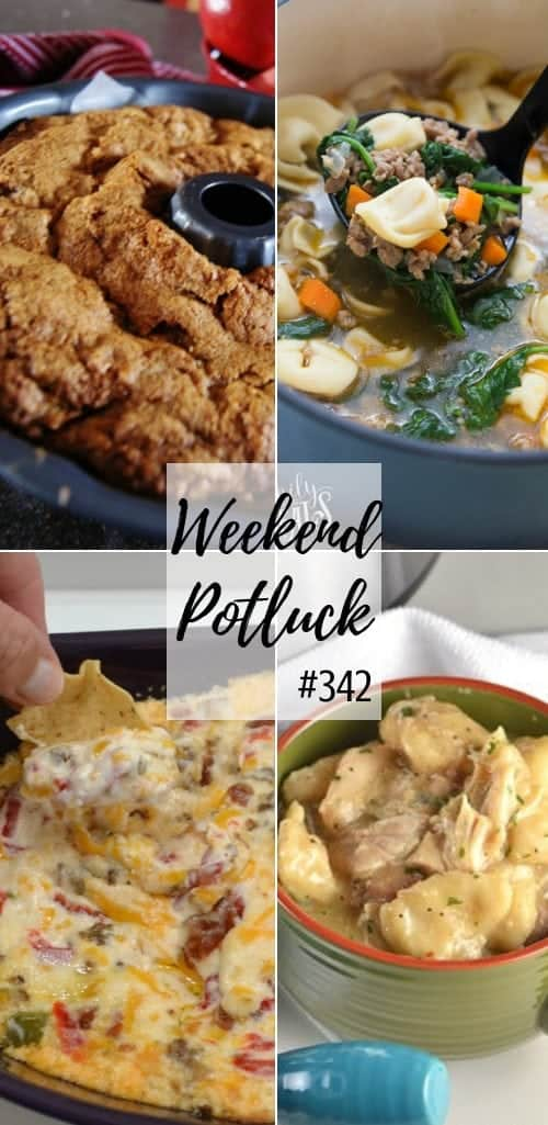 Weekend Potluck featured recipes include: Instant Pot Chicken and Dumplings, Italian Tortellini Soup, Twice Baked Spaghetti Squash Marinara, Mamaw's Fresh Apple Cake, Hot Pimiento Sausage Dip, #recipes #dinner #soup #instantpot #apple #ideas #mealplan #sausagedip